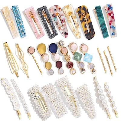 Magicsky Pearls and Acrylic Resin Hair Clips (28-Piece)