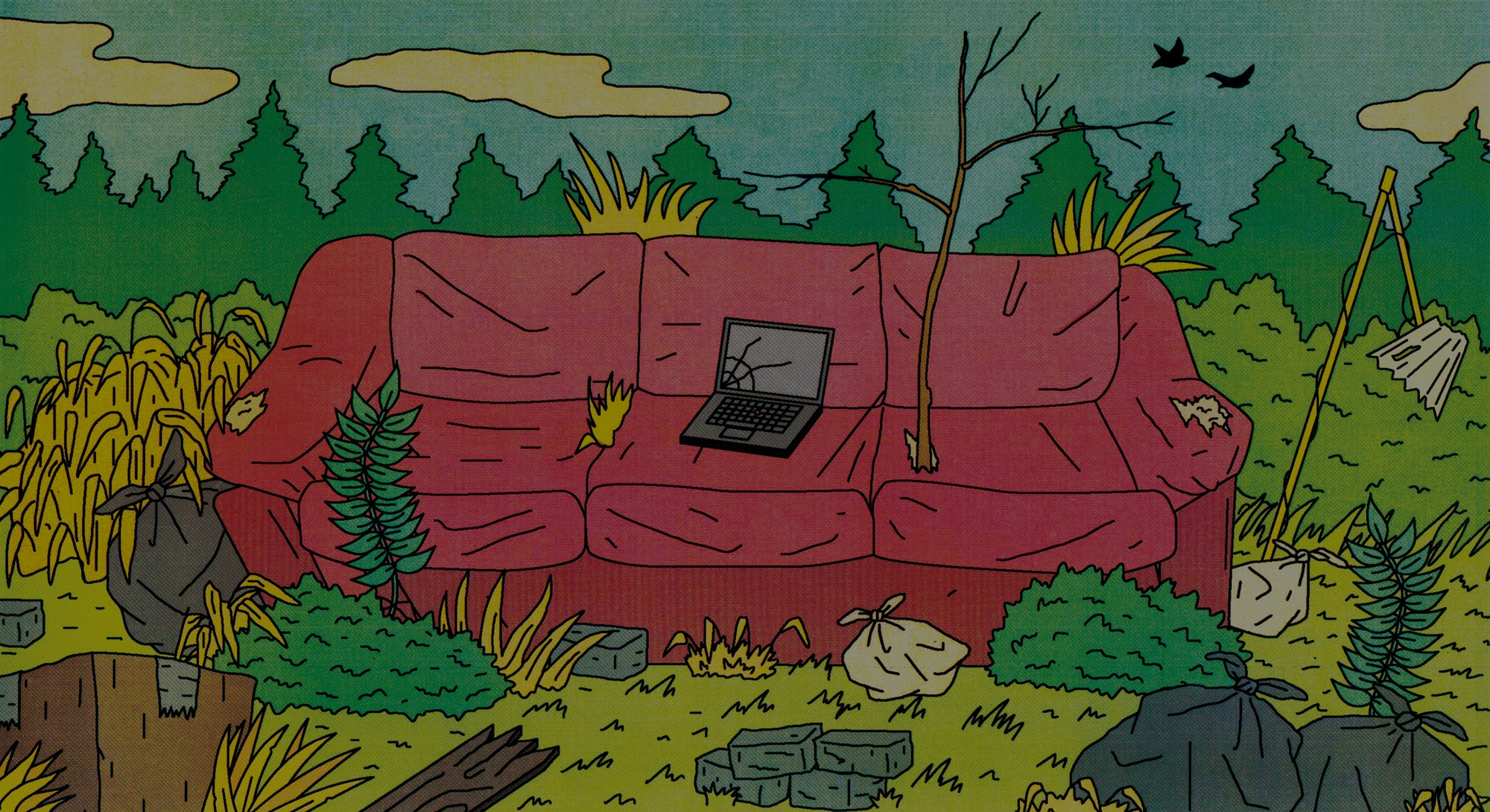 An illustration of an old ruined couch in the wilderness amid trash