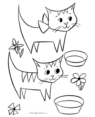 Cat coloring page; two cats eating out of bowls