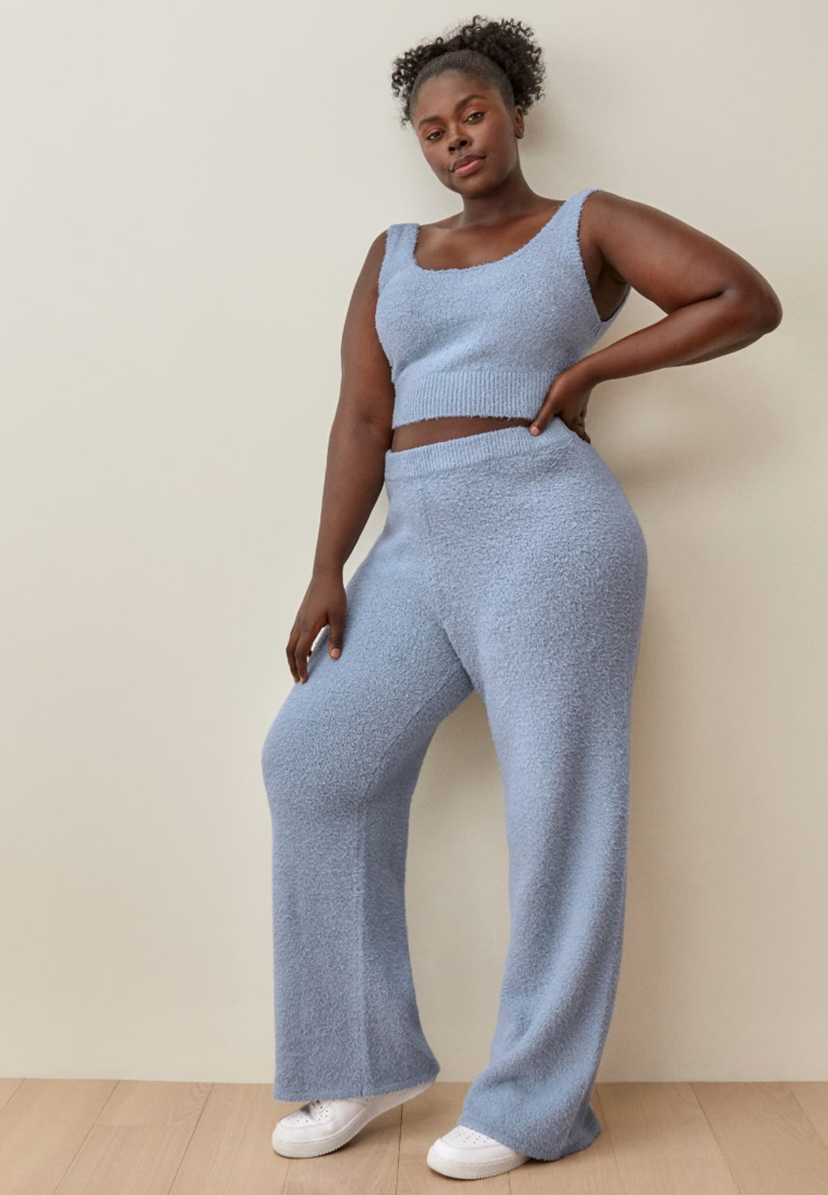 Reformation's Isle Two Piece Sets Es in sky blue.