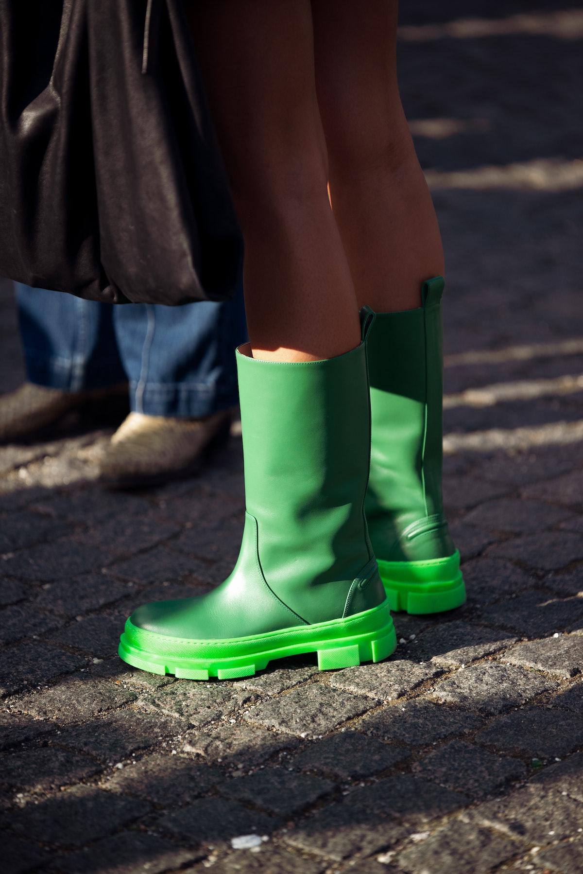 green boots at Copenhagen fashion week