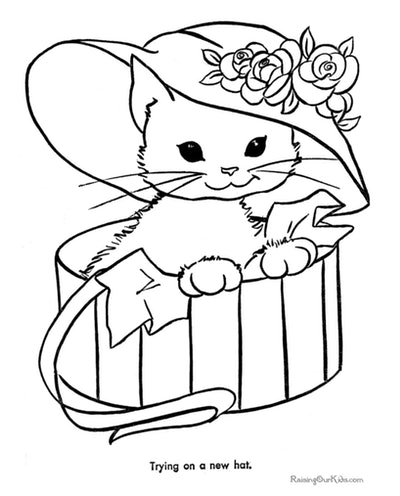 Cat coloring page; cat coming out of a box, wearing a floppy hat with flowers