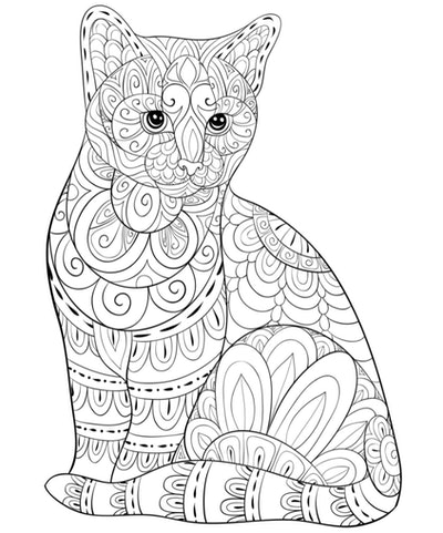 Cat Coloring Page: Adult coloring page of cat with intricate designs and details