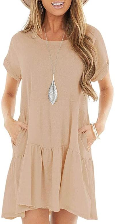 Berryou Flexible Loose Ruffle T-Shirt Dress