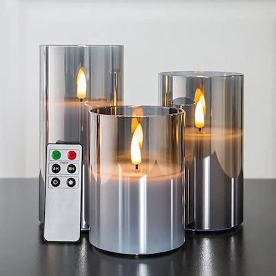 Eywamage Gray Glass Flameless Candles