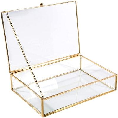 Home Details Vintage Mirrored Glass Keepsake Box
