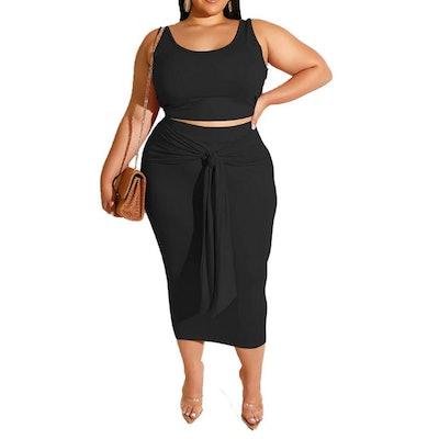 IyMoo Plus Size Crop Top Bodycon Skirt Set (2 Pieces)