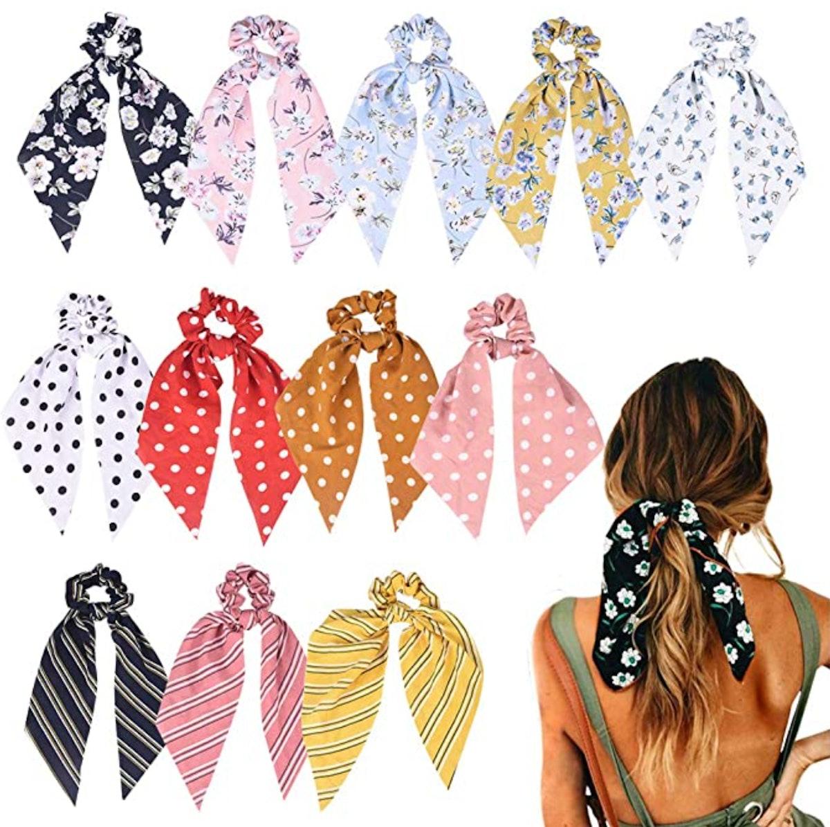 Hair Scarf Scrunchies (12-Pack)