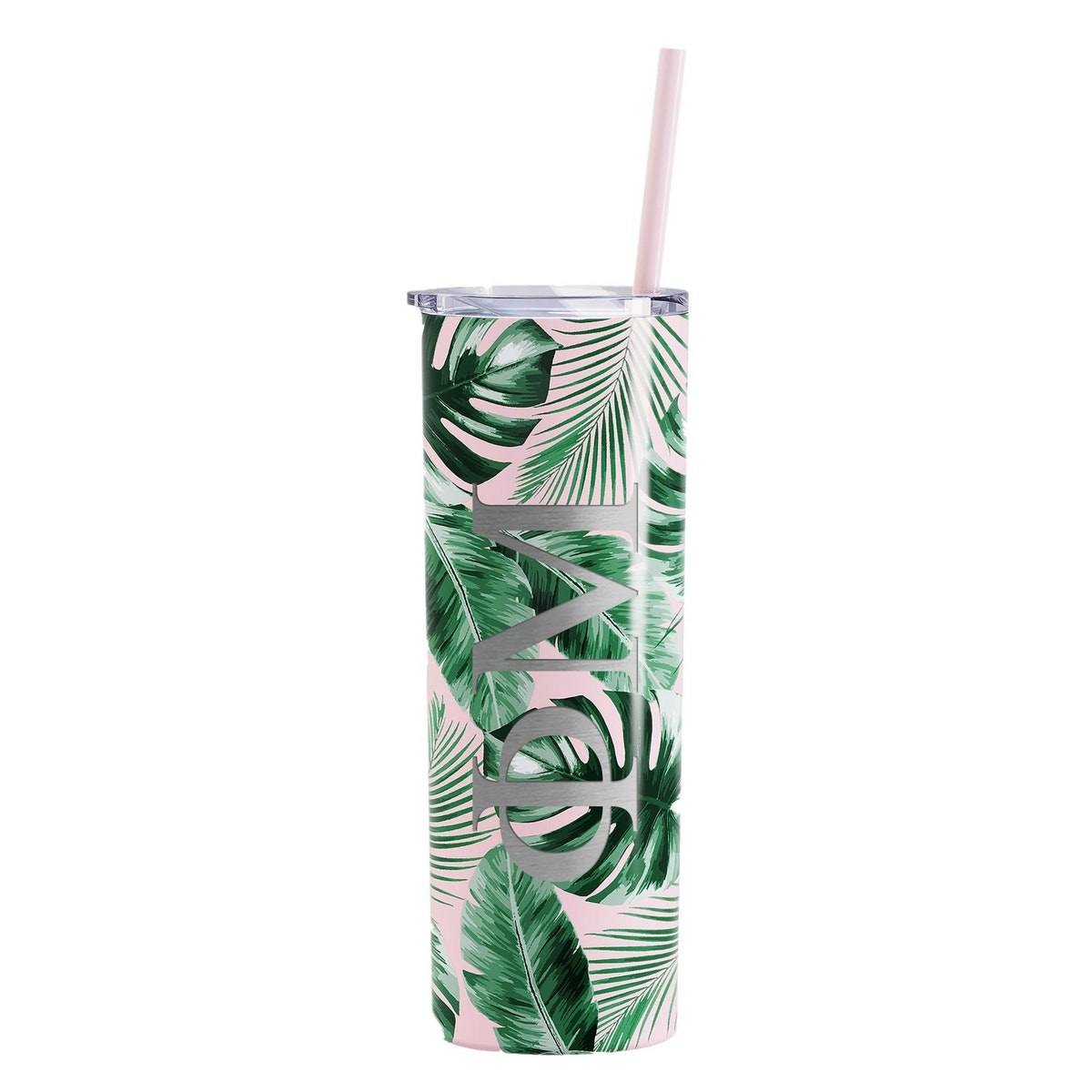 Tropical Printed Skinny Tumbler With Straw