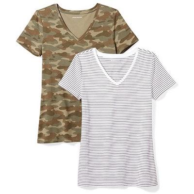 Amazon Essentials Classic-Fit V-Neck T-Shirt(2-Pack)