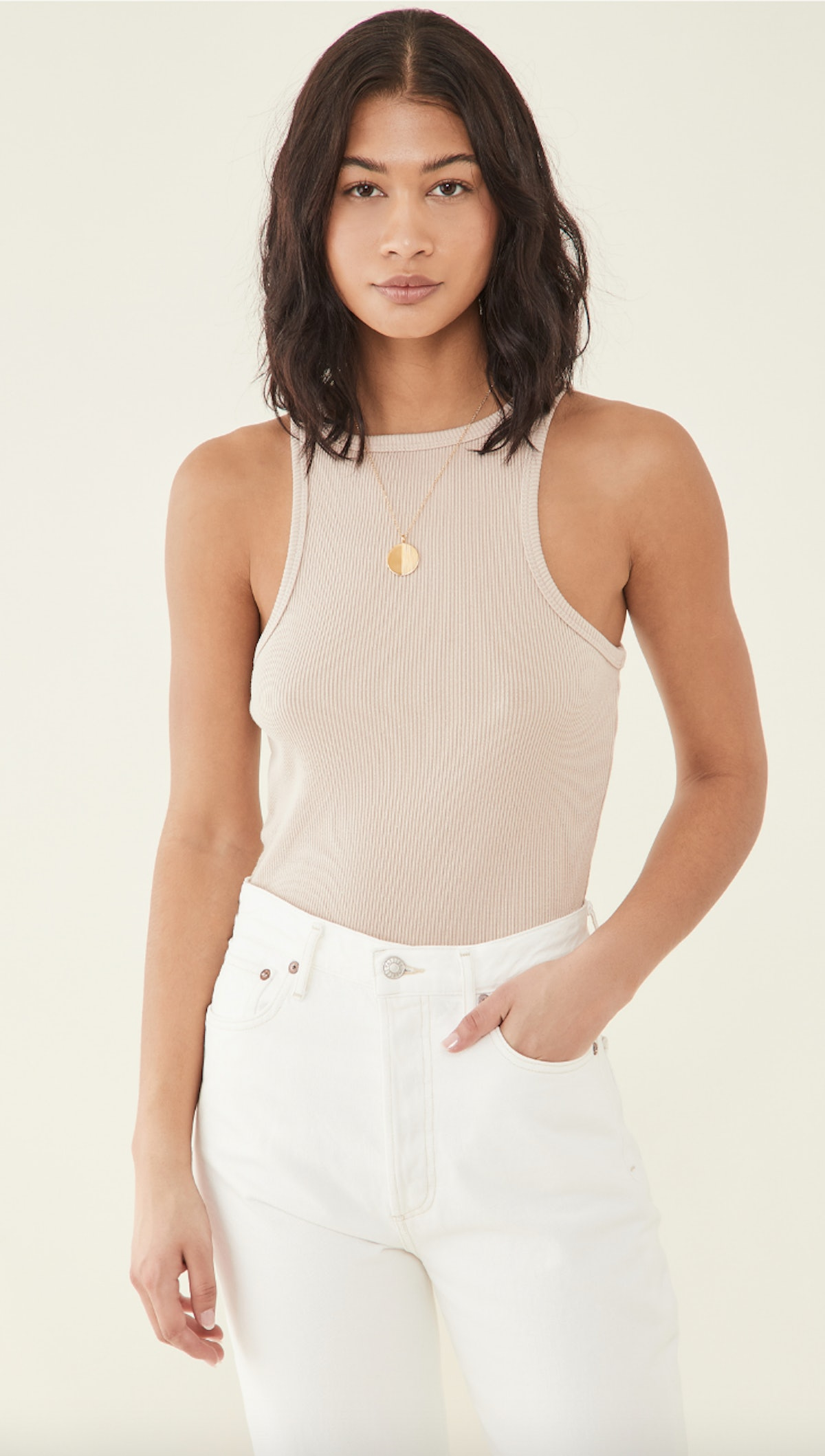 AGOLDE's ribbed high neck tank in latte.