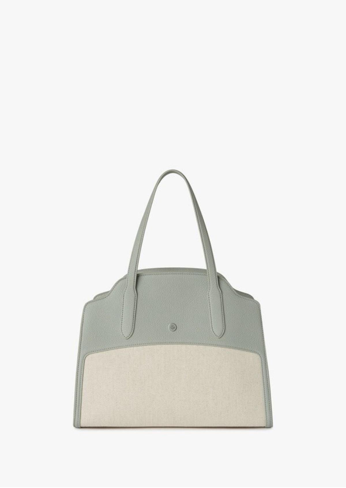 Loro Piana's Sesia Bag in the color natural/eucalyptus.
