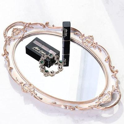 Zosenley Polyresin Ellipse Antique Decorative Mirror Tray