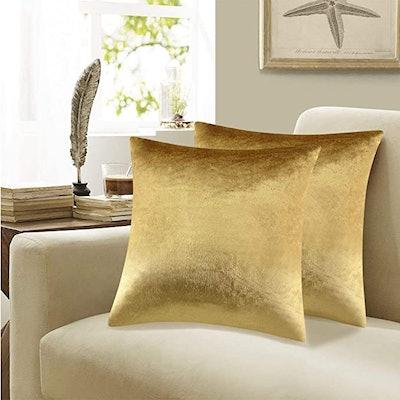 GIGIZAZA Gold Velvet Decorative Throw Pillow Covers