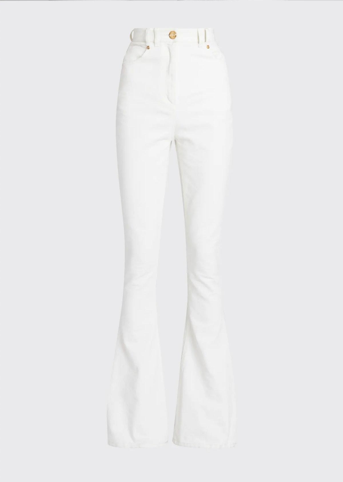 Balmain's high-waisted bootcut jeans in white.