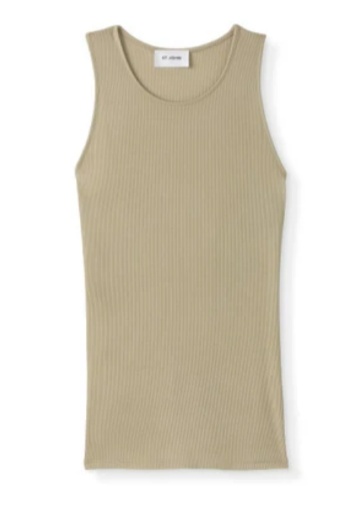 St. John's stretch rib knit tank top in the color fawn.