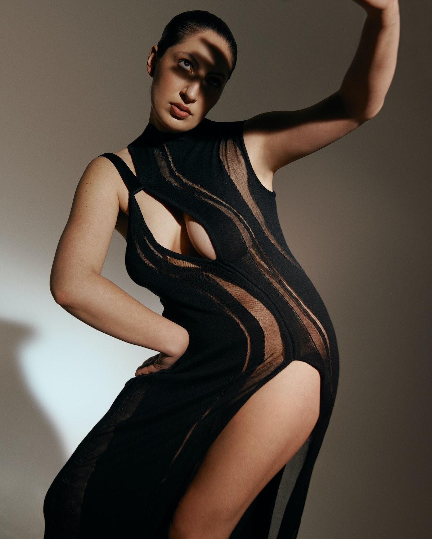 Designer, Karoline Vitto wearing a design from her eponymous fashion label