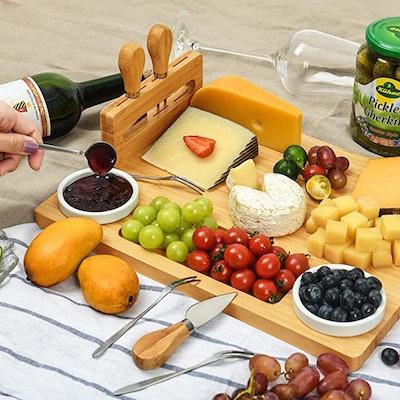 ROYAMY Bamboo Cheese Board Set
