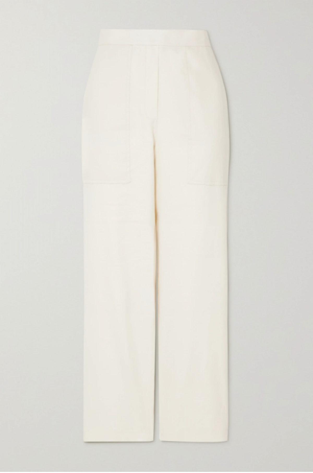 FRAME's off-white linen straight-leg pants.
