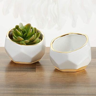 Kate Aspen Ceramic Planters Decorative Bowls (2-Pack)