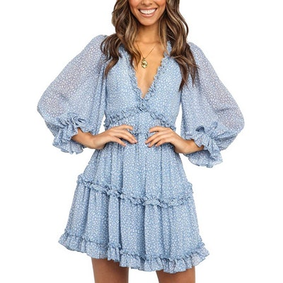 Dokotoo Long Sleeve Print Mini Dress