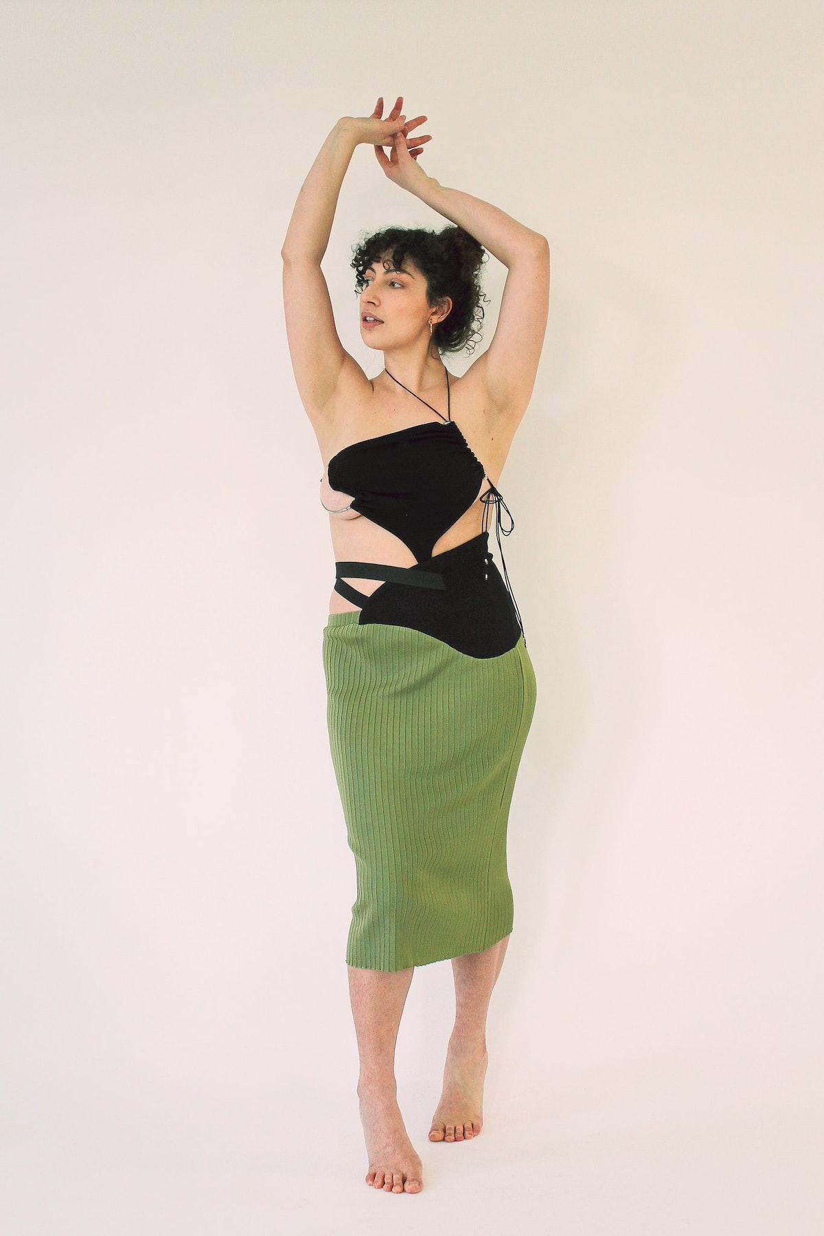 Karoline Vitto Wrapped Waist Olive Skirt
