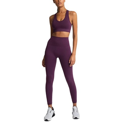 HAODIAN High Waisted Leggings with Sports Bra (2 Pieces)