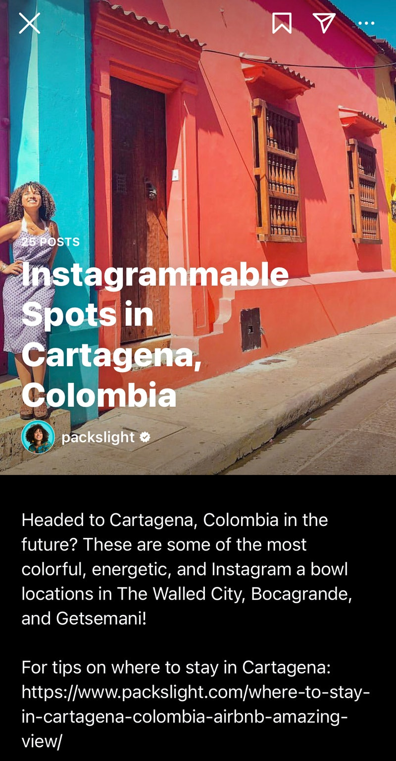 A screenshot of an Instagram Guide to Cartagena, Colombia. Here's how to use Instagram guides.