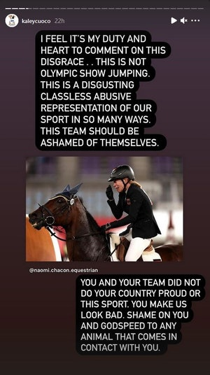 """Kaley Cuoco slams a German rider and trainer after an """"abusive"""" incident at the 2020 Tokyo Olympics."""