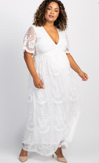 PinkBlush White Lace Mesh Overlay Plus Maternity Maxi Dress