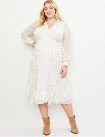 Jessica Simpson Plus Size Clip Dot Flounce Maternity Dress