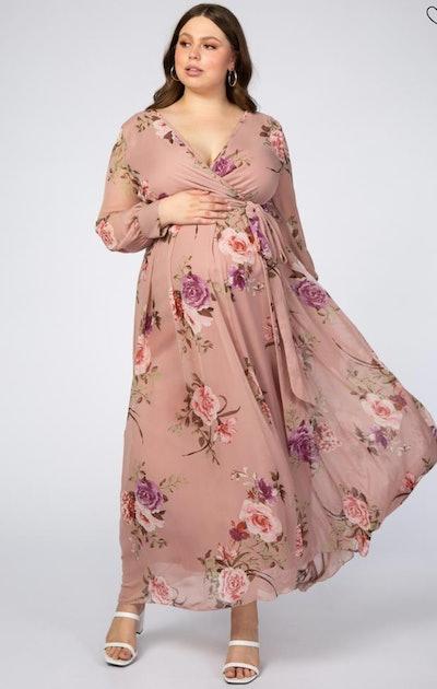Pink Floral Chiffon Maternity Plus Maxi Dress