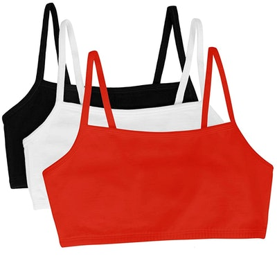 Fruit of the Loom Spaghetti Strap Cotton Pullover Sports Bra (3 Pack)
