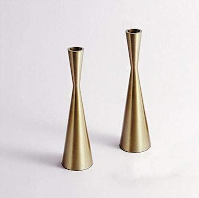 KiaoTime Brass Taper Candlestick Candleholders (2-Pack)