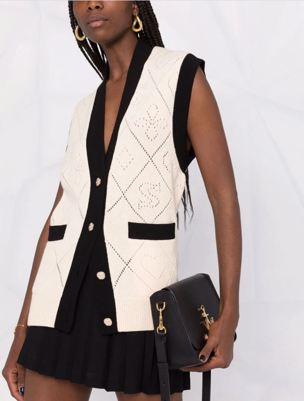 Perforated logo knitted vest