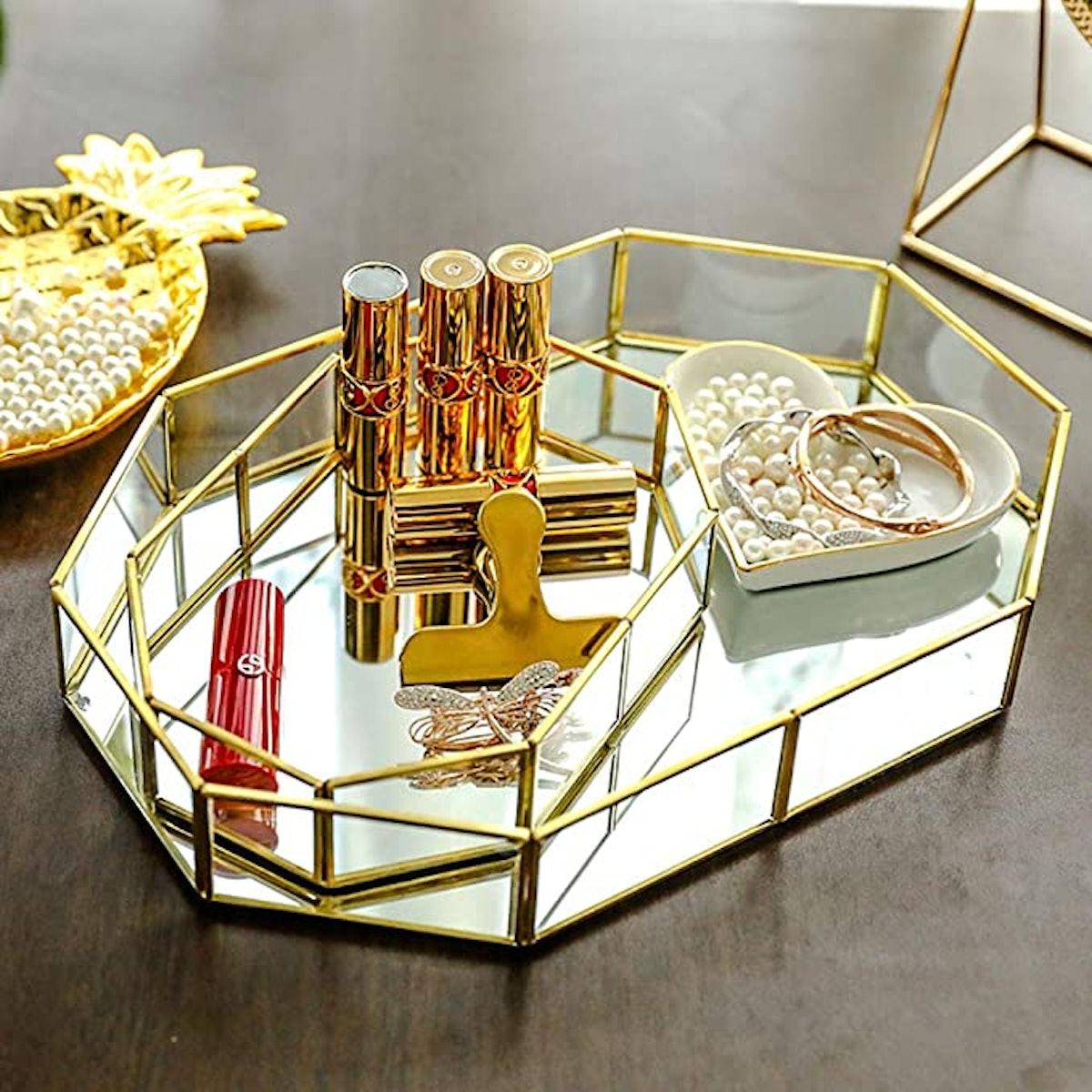 Yokay Mirror Gold Tray