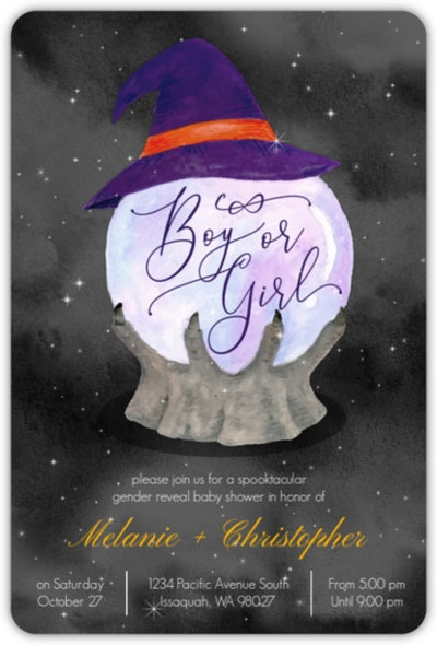 """Halloween baby shower invite; Crystal ball with witch's hat that says """"boy or girl"""""""