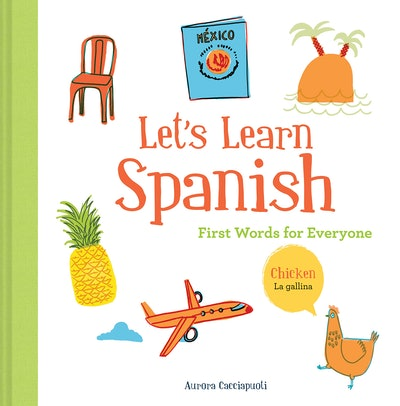 cover of Let's Learn Spanish word book with images of a chair, pineapple, plane, and chicken