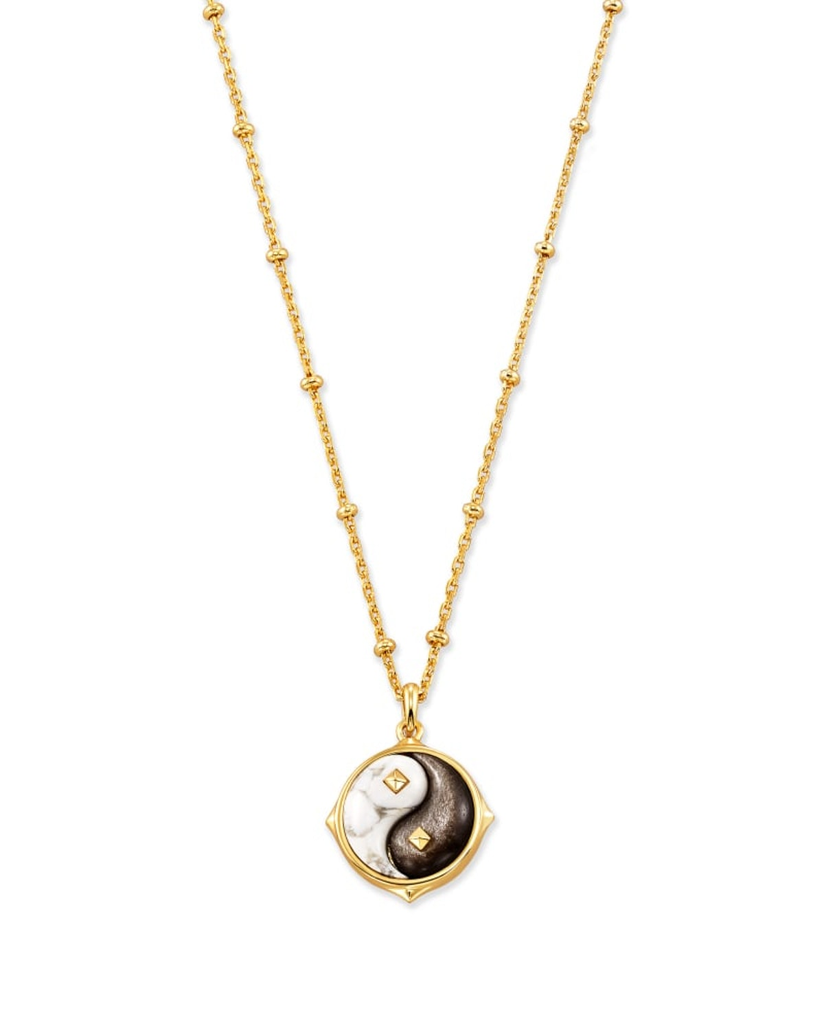 Yin Yang Gold Pendant Necklace In Neutral Mix