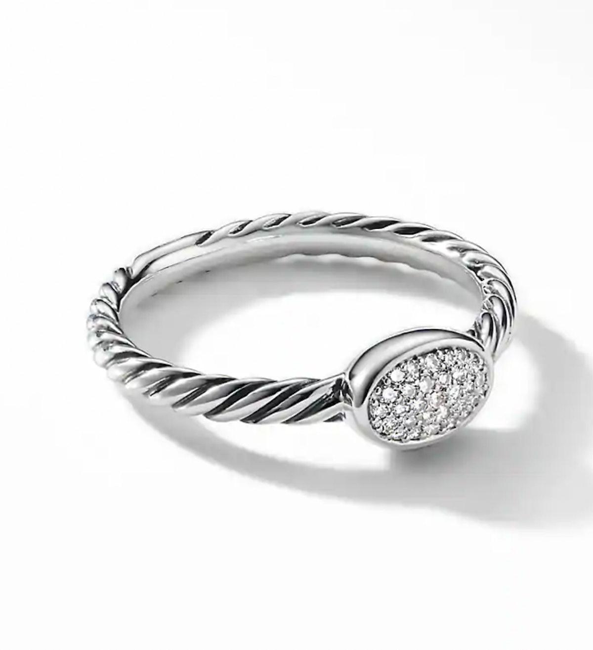 Petite Pave Oval Ring with Diamonds