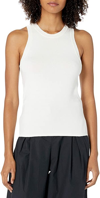 The Drop Gina Fitted Sleeveless High Neck Cut-In Sweater Tank