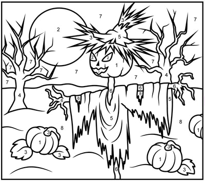 printable color-by-number worksheet with a scarecrow image