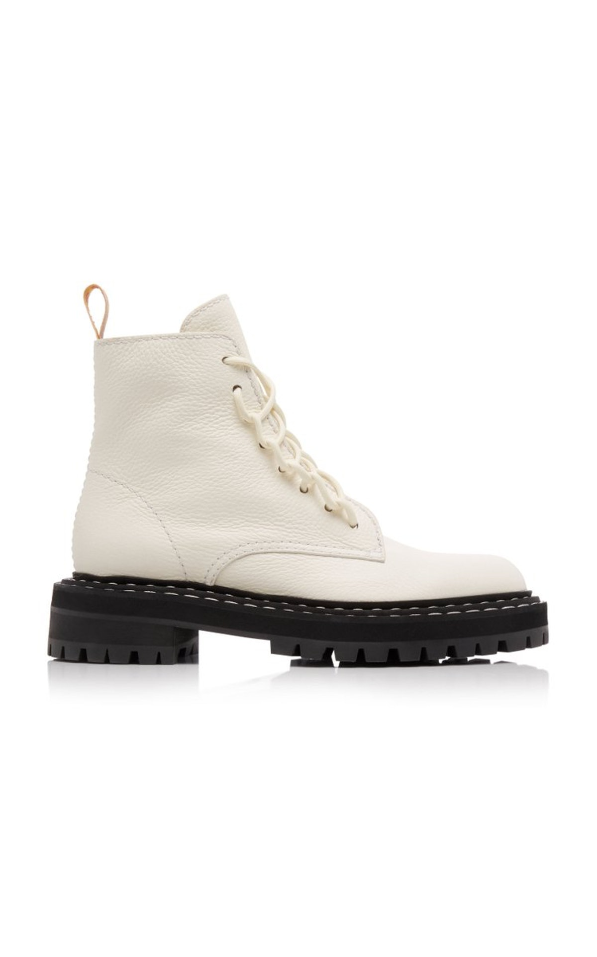 White leather combat boots from Proenza Schouler, available to shop on Moda Operandi.