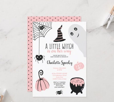 """Halloween baby shower invitation; """"A Little Witch"""" theme with pink, grey, and black graphics"""