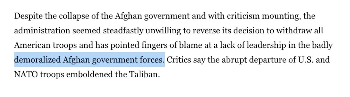 """demoralized Afghan forces"" and ""emboldened Taliban"""