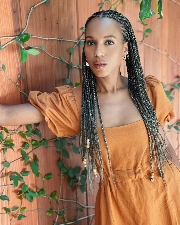 Kerry Washington in feed-in braids via her Instagram
