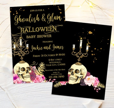 Halloween baby shower invitation; front and back of invite with skull and candelabra