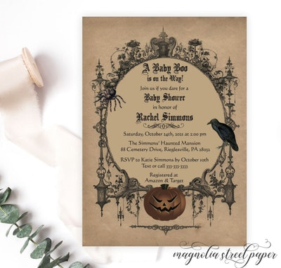 Halloween baby shower invitation; vintage style with Gothic designs and spooky Jack-o-lantern