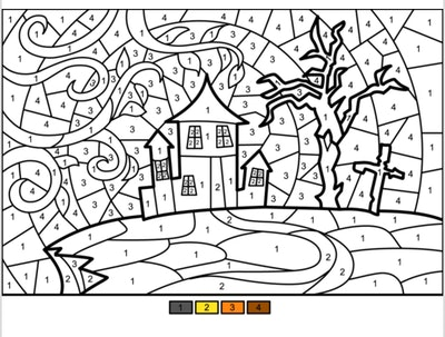 Halloween haunted house color by number worksheet for kids