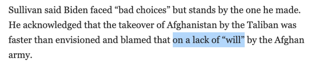 """Screenshot of a quote saying a lack of """"will"""" by the Afghan army led to the Taliban takeover"""
